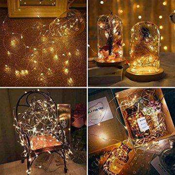 LED Lichterkette Batterie 20 Stück Kupferdraht Drahtlichterkette Warmweiß 2M 20 LEDs Weihnachtsbeleuchtung String Fairy Light für Innen und Außen Dekoration Party Garden Christmas Dekor Flasche DIY - 7