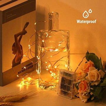Led Lichterkette Batterie 5m Kupferdraht Lichterkette mit Fernbedienung Innen außen Fairy Lights für Zimmer, Party, Hochzeit, Weihnachten usw. (4 Stück/Warmweiß) - 2