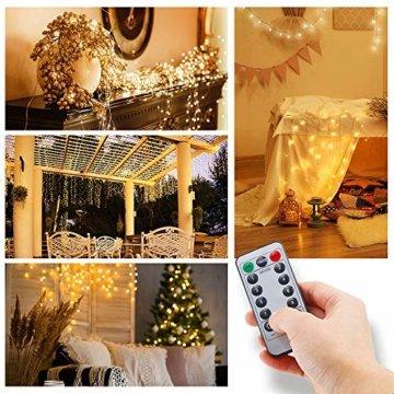 Led Lichterkette Batterie 5m Kupferdraht Lichterkette mit Fernbedienung Innen außen Fairy Lights für Zimmer, Party, Hochzeit, Weihnachten usw. (4 Stück/Warmweiß) - 3