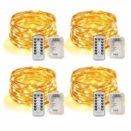 Led Lichterkette Batterie 5m Kupferdraht Lichterkette mit Fernbedienung Innen außen Fairy Lights für Zimmer, Party, Hochzeit, Weihnachten usw. (4 Stück/Warmweiß) - 1