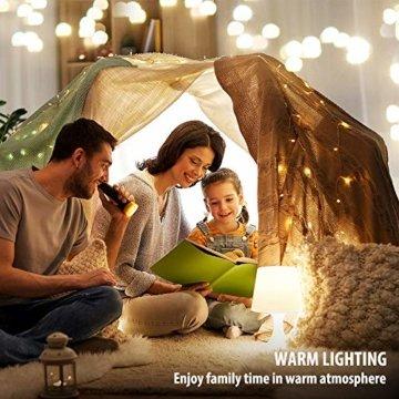 Led Lichterkette Batterie 5m Kupferdraht Lichterkette mit Fernbedienung Innen außen Fairy Lights für Zimmer, Party, Hochzeit, Weihnachten usw. (4 Stück/Warmweiß) - 4