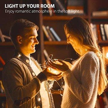 Led Lichterkette Batterie 5m Kupferdraht Lichterkette mit Fernbedienung Innen außen Fairy Lights für Zimmer, Party, Hochzeit, Weihnachten usw. (4 Stück/Warmweiß) - 5