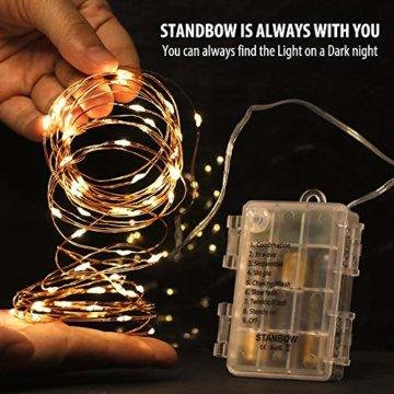 Led Lichterkette Batterie 5m Kupferdraht Lichterkette mit Fernbedienung Innen außen Fairy Lights für Zimmer, Party, Hochzeit, Weihnachten usw. (4 Stück/Warmweiß) - 7