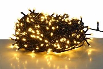 LED Lichterkette mit 500 LEDs - LED: warmweiß/Kabel: grün - für den Innen- und Außenbereich - Weihnachtsbaum Lichterkette (500 LED - 50m) - 1