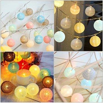 LED Lichterkette mit Cotton Balls Batteriebetrieben, 3M 20 LED Kugel Lichterketten Innen Wandleuchte Weihnachtsbeleuchtung Deko für Party, Garten, Weihnachten, Hochzeit - 2