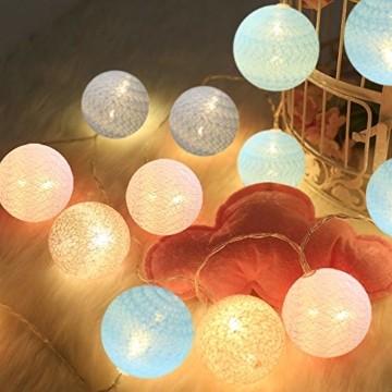 LED Lichterkette mit Cotton Balls Batteriebetrieben, 3M 20 LED Kugel Lichterketten Innen Wandleuchte Weihnachtsbeleuchtung Deko für Party, Garten, Weihnachten, Hochzeit - 1