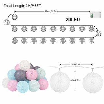 LED Lichterkette mit Cotton Balls Batteriebetrieben, 3M 20 LED Kugel Lichterketten Innen Wandleuchte Weihnachtsbeleuchtung Deko für Party, Garten, Weihnachten, Hochzeit - 7