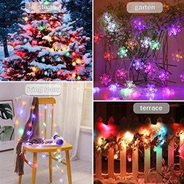 LED Lichterkette Schneeflocken - 6M 40 LED, HIBOER Weihnachten Usb Schneeflocke Lichterketten Warmweiß, Wasserdicht Beleuchtung Stimmungslichter für Garten Weihnachtsbaum Innen Außen - 2