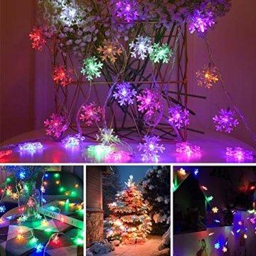 LED Lichterkette Schneeflocken - 6M 40 LED, HIBOER Weihnachten Usb Schneeflocke Lichterketten Warmweiß, Wasserdicht Beleuchtung Stimmungslichter für Garten Weihnachtsbaum Innen Außen - 3
