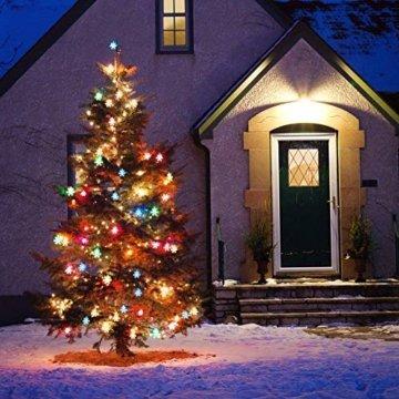 LED Lichterkette Schneeflocken - 6M 40 LED, HIBOER Weihnachten Usb Schneeflocke Lichterketten Warmweiß, Wasserdicht Beleuchtung Stimmungslichter für Garten Weihnachtsbaum Innen Außen - 5