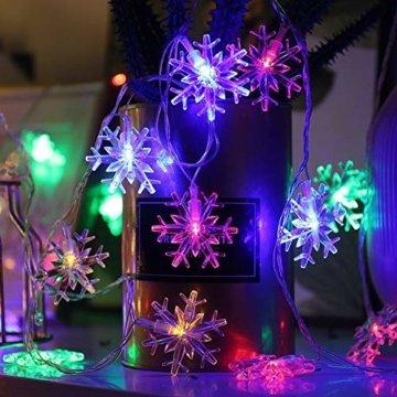 LED Lichterkette Schneeflocken - 6M 40 LED, HIBOER Weihnachten Usb Schneeflocke Lichterketten Warmweiß, Wasserdicht Beleuchtung Stimmungslichter für Garten Weihnachtsbaum Innen Außen - 6
