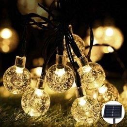 LED Lichterkette,Solar KristallKugeln Lichterkette,6.5 Meters 30 LED Warmweiß Wasserdichte Außerlichterkette Deko für Garten, Draußen,Bäume, Weihnachten, Hochzeiten, Party, Innen und Außen - 1