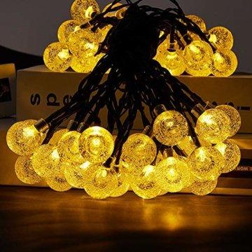 LED Lichterkette,Solar KristallKugeln Lichterkette,6.5 Meters 30 LED Warmweiß Wasserdichte Außerlichterkette Deko für Garten, Draußen,Bäume, Weihnachten, Hochzeiten, Party, Innen und Außen - 4