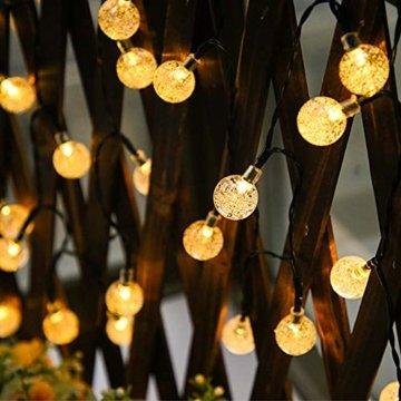 LED Lichterkette,Solar KristallKugeln Lichterkette,6.5 Meters 30 LED Warmweiß Wasserdichte Außerlichterkette Deko für Garten, Draußen,Bäume, Weihnachten, Hochzeiten, Party, Innen und Außen - 5