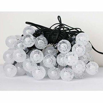 LED Lichterkette,Solar KristallKugeln Lichterkette,6.5 Meters 30 LED Warmweiß Wasserdichte Außerlichterkette Deko für Garten, Draußen,Bäume, Weihnachten, Hochzeiten, Party, Innen und Außen - 7