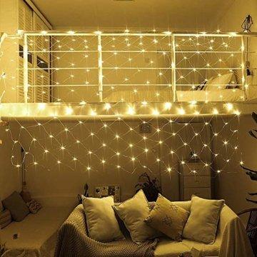 LED Lichternetz 200LED Lichterkette 3x2m mit Fernbedienung 8Modi Innen und Außen Dekoration für Halloween Weihnachten Hochzeit Party (Warmweiß) - 3