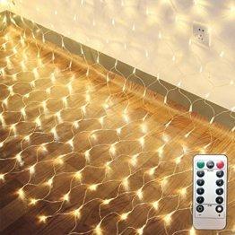 LED Lichternetz 200LED Lichterkette 3x2m mit Fernbedienung 8Modi Innen und Außen Dekoration für Halloween Weihnachten Hochzeit Party (Warmweiß) - 1