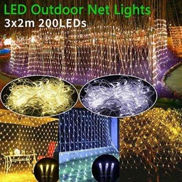 LED Lichternetz 200LED Lichterkette 3x2m mit Fernbedienung 8Modi Innen und Außen Dekoration für Halloween Weihnachten Hochzeit Party (Warmweiß) - 5