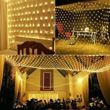 LED Lichternetz 200LED Lichterkette 3x2m mit Fernbedienung 8Modi Innen und Außen Dekoration für Halloween Weihnachten Hochzeit Party (Warmweiß) - 7