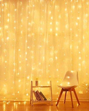 LED Lichtervorhang, 3 * 3M 300er Lichterketten Vorhang USB Fenster Lichterkette Wand mit Fernbedienung&Timer 8 Modi Wasserfall Lichterkette Innen Weihnachten Deko für Party Hochzeit Zimmer-Warmweiß - 2