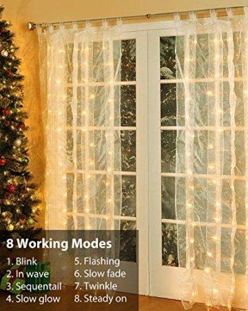 LED Lichtervorhang, 3 * 3M 300er Lichterketten Vorhang USB Fenster Lichterkette Wand mit Fernbedienung&Timer 8 Modi Wasserfall Lichterkette Innen Weihnachten Deko für Party Hochzeit Zimmer-Warmweiß - 3