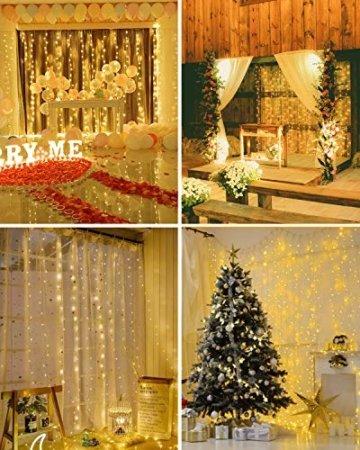 LED Lichtervorhang, 3 * 3M 300er Lichterketten Vorhang USB Fenster Lichterkette Wand mit Fernbedienung&Timer 8 Modi Wasserfall Lichterkette Innen Weihnachten Deko für Party Hochzeit Zimmer-Warmweiß - 4
