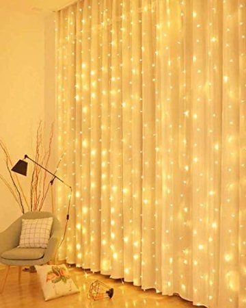 LED Lichtervorhang, 3 * 3M 300er Lichterketten Vorhang USB Fenster Lichterkette Wand mit Fernbedienung&Timer 8 Modi Wasserfall Lichterkette Innen Weihnachten Deko für Party Hochzeit Zimmer-Warmweiß - 1