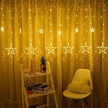 LED Lichtervorhang Sterne, Vivibel Lichterkette mit LED Kugel 12 Sterne 138 Leuchtioden Fenstervorhang Lichter 8 Modi, Innen & Außen Wasserdicht Deko für Weihnachten, Zimmer, Party, Warmweiß - 2