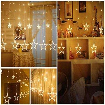 LED Lichtervorhang Sterne, Vivibel Lichterkette mit LED Kugel 12 Sterne 138 Leuchtioden Fenstervorhang Lichter 8 Modi, Innen & Außen Wasserdicht Deko für Weihnachten, Zimmer, Party, Warmweiß - 3