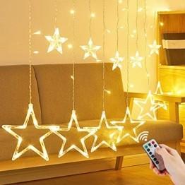 LED Lichtervorhang Sterne, Vivibel Lichterkette mit LED Kugel 12 Sterne 138 Leuchtioden Fenstervorhang Lichter 8 Modi, Innen & Außen Wasserdicht Deko für Weihnachten, Zimmer, Party, Warmweiß - 1