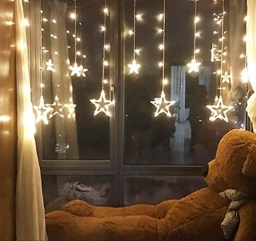 LED Lichtervorhang Sterne, Vivibel Lichterkette mit LED Kugel 12 Sterne 138 Leuchtioden Fenstervorhang Lichter 8 Modi, Innen & Außen Wasserdicht Deko für Weihnachten, Zimmer, Party, Warmweiß - 5