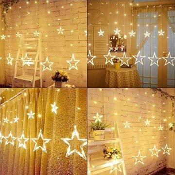LED Lichtervorhang Sterne, Vivibel Lichterkette mit LED Kugel 12 Sterne 138 Leuchtioden Fenstervorhang Lichter 8 Modi, Innen & Außen Wasserdicht Deko für Weihnachten, Zimmer, Party, Warmweiß - 6