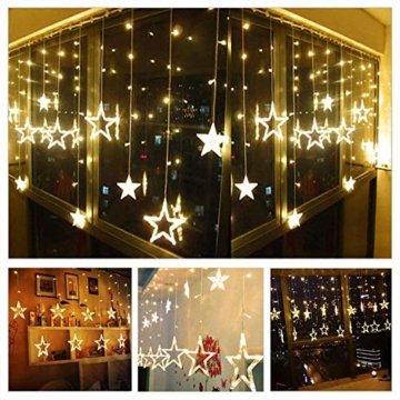 LED Lichtervorhang Sterne, Vivibel Lichterkette mit LED Kugel 12 Sterne 138 Leuchtioden Fenstervorhang Lichter 8 Modi, Innen & Außen Wasserdicht Deko für Weihnachten, Zimmer, Party, Warmweiß - 7