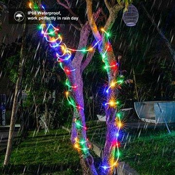 LED Schlauch Lichterkette RGB Außen 10M 100LED Weihnachtsbeleuchtung Wasserdicht Lichtschlauch 16 Farben 4 Modi mit Fernbedienung & Timer, Bunt Lichterkette für Halloween Zimmer Garten Deko - 2