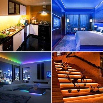LED Strip 10m LED Streifen, LED Lichtband RGB LED Band 5Mx2 mit Fernbedienung Music-Sync Bluetooth LED Leiste mit App Kontroller, SMD5050 Farbwechsel Led Lichterkette für Zuhause TV Küche Party - 2