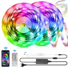 LED Strip 10m LED Streifen, LED Lichtband RGB LED Band 5Mx2 mit Fernbedienung Music-Sync Bluetooth LED Leiste mit App Kontroller, SMD5050 Farbwechsel Led Lichterkette für Zuhause TV Küche Party - 1