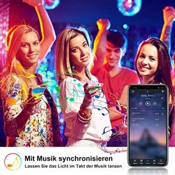 LED Strip 10m LED Streifen, LED Lichtband RGB LED Band 5Mx2 mit Fernbedienung Music-Sync Bluetooth LED Leiste mit App Kontroller, SMD5050 Farbwechsel Led Lichterkette für Zuhause TV Küche Party - 4