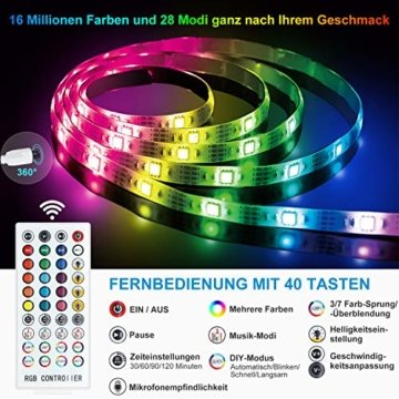 LED Strip 10m LED Streifen, LED Lichtband RGB LED Band 5Mx2 mit Fernbedienung Music-Sync Bluetooth LED Leiste mit App Kontroller, SMD5050 Farbwechsel Led Lichterkette für Zuhause TV Küche Party - 5