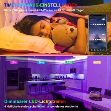 LED Strip 10m LED Streifen, LED Lichtband RGB LED Band 5Mx2 mit Fernbedienung Music-Sync Bluetooth LED Leiste mit App Kontroller, SMD5050 Farbwechsel Led Lichterkette für Zuhause TV Küche Party - 6