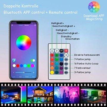 LED Strip, L8star LED Streifen Farbwechsel Led Lichterkette 5M RGB Flexible LED Bänder Strips mit Bluetooth Kontroller Sync zur Musik, Anwendung für Schlafzimmer, Party und Feriendekoration (5M) - 6