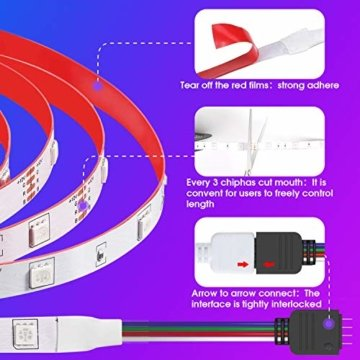 LED Strips 20M HEERTTOGO LED Streifen RGB mit Bluetooth Musikalische LED Lichtband Dynamischer Musikmodus mit Mikrofon APP Steuerung Fernbedienung 23 Tasten16 Millionen Farben Led lichterkette - 3