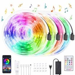 LED Strips 20M HEERTTOGO LED Streifen RGB mit Bluetooth Musikalische LED Lichtband Dynamischer Musikmodus mit Mikrofon APP Steuerung Fernbedienung 23 Tasten16 Millionen Farben Led lichterkette - 1