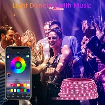 LED Strips 20M HEERTTOGO LED Streifen RGB mit Bluetooth Musikalische LED Lichtband Dynamischer Musikmodus mit Mikrofon APP Steuerung Fernbedienung 23 Tasten16 Millionen Farben Led lichterkette - 4