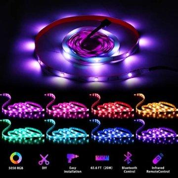 LED Strips 20M HEERTTOGO LED Streifen RGB mit Bluetooth Musikalische LED Lichtband Dynamischer Musikmodus mit Mikrofon APP Steuerung Fernbedienung 23 Tasten16 Millionen Farben Led lichterkette - 7