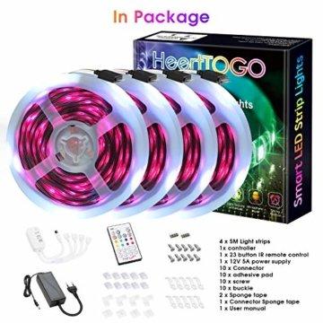 LED Strips 20M HEERTTOGO LED Streifen RGB mit Bluetooth Musikalische LED Lichtband Dynamischer Musikmodus mit Mikrofon APP Steuerung Fernbedienung 23 Tasten16 Millionen Farben Led lichterkette - 9