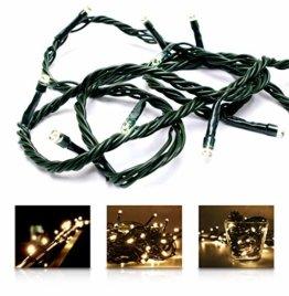 LED Universum Lichterkette mit 100 warmweißen LEDs und verschiedenen Stimmungsmodi für innen und außen, 10 Meter, IP44, perfekt für Weihnachtszeit, Hochzeiten oder Gartenfeiern - 1