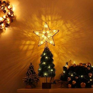 Lewondr Christbaumspitze, Glitzernder Weihnachtsbaum Topper Beleuchtete Funkelnde Stern Weihnachtsbaumspitze Weihnachten Dekoration LED Dekorativ Licht Batteriebetrieb 25.4cm - Gold - 5