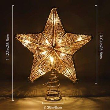 Lewondr Christbaumspitze, Glitzernder Weihnachtsbaum Topper Beleuchtete Funkelnde Stern Weihnachtsbaumspitze Weihnachten Dekoration LED Dekorativ Licht Batteriebetrieb 25.4cm - Gold - 8