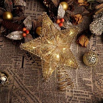 Lewondr Christbaumspitze, Glitzernder Weihnachtsbaum Topper Beleuchtete Funkelnde Stern Weihnachtsbaumspitze Weihnachten Dekoration LED Dekorativ Licht Batteriebetrieb 25.4cm - Gold - 9