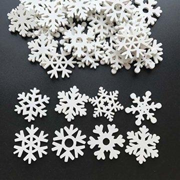 LEZED Holz Schneeflocken Anhänger für Weihnachten 100 STK Holz Schneeflocke Fensterdeko Mini Streuteile Schneeflocken Ausgehöhlten Schneeflocken Verzierungen für Winterliche Weihnachts Tischdeko 35mm - 1